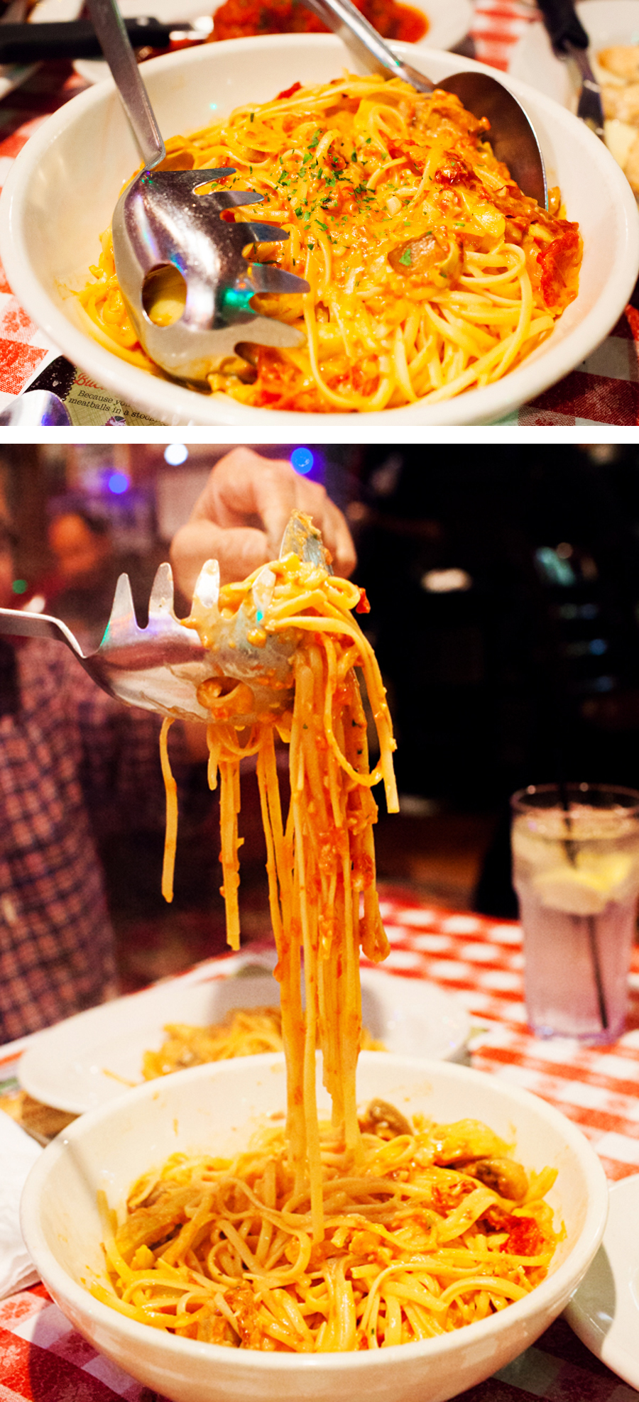 Buca di beppo, create your own pasta, linguine, rosa sauce
