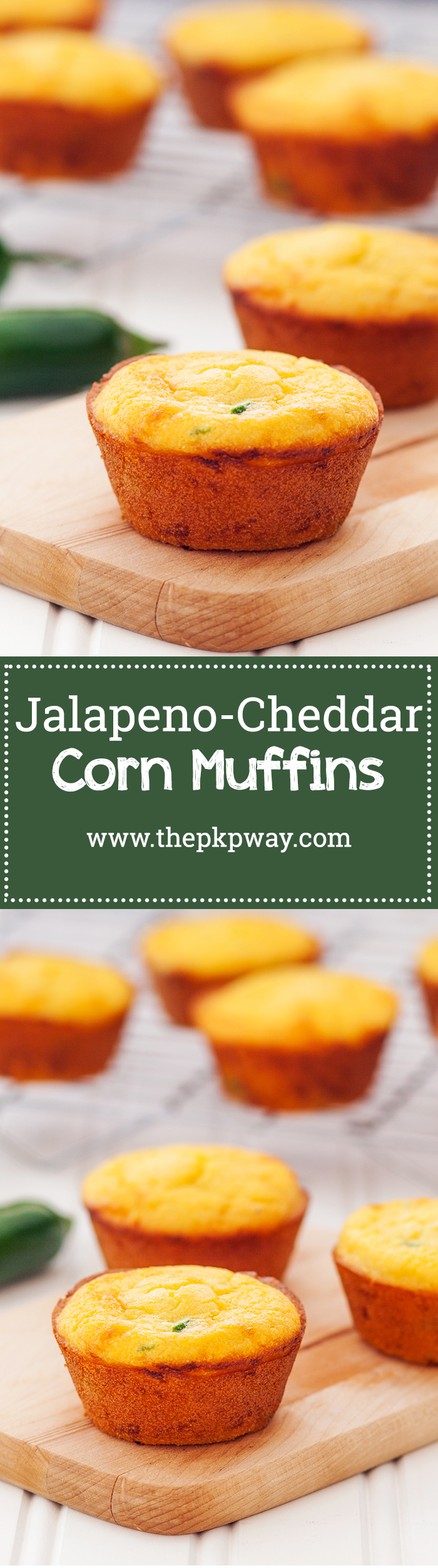 Jalapeño-cheddar cornbread muffins. Crackly exterior, ultra-moist interior, and a punch of cheesy and jalapeño-y flavor!