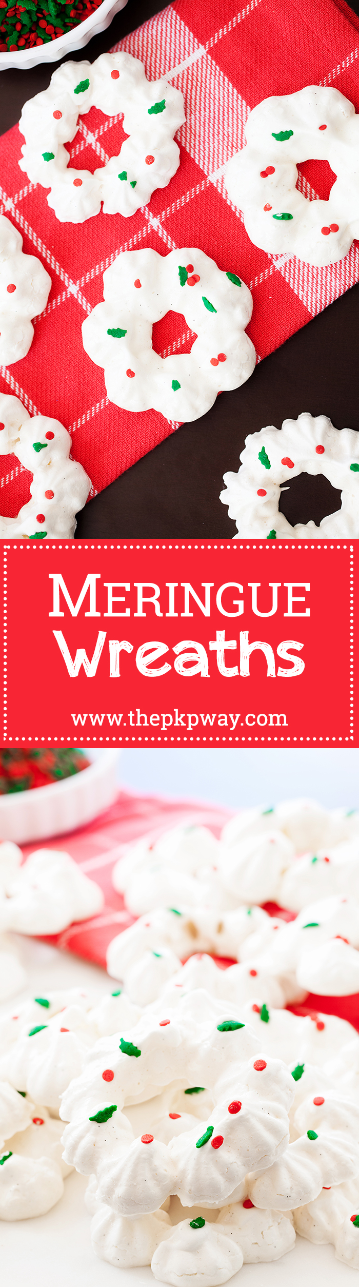 Bring these meringue wreaths to your next holiday party and add some cheer to the holiday table.
