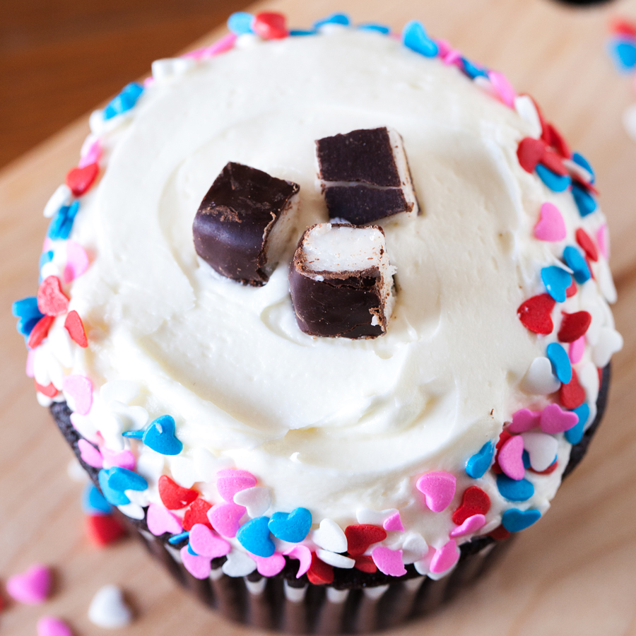 Cupcakes for Two: Valentine's Day Peppermint Pattie Chocolate Cupcakes