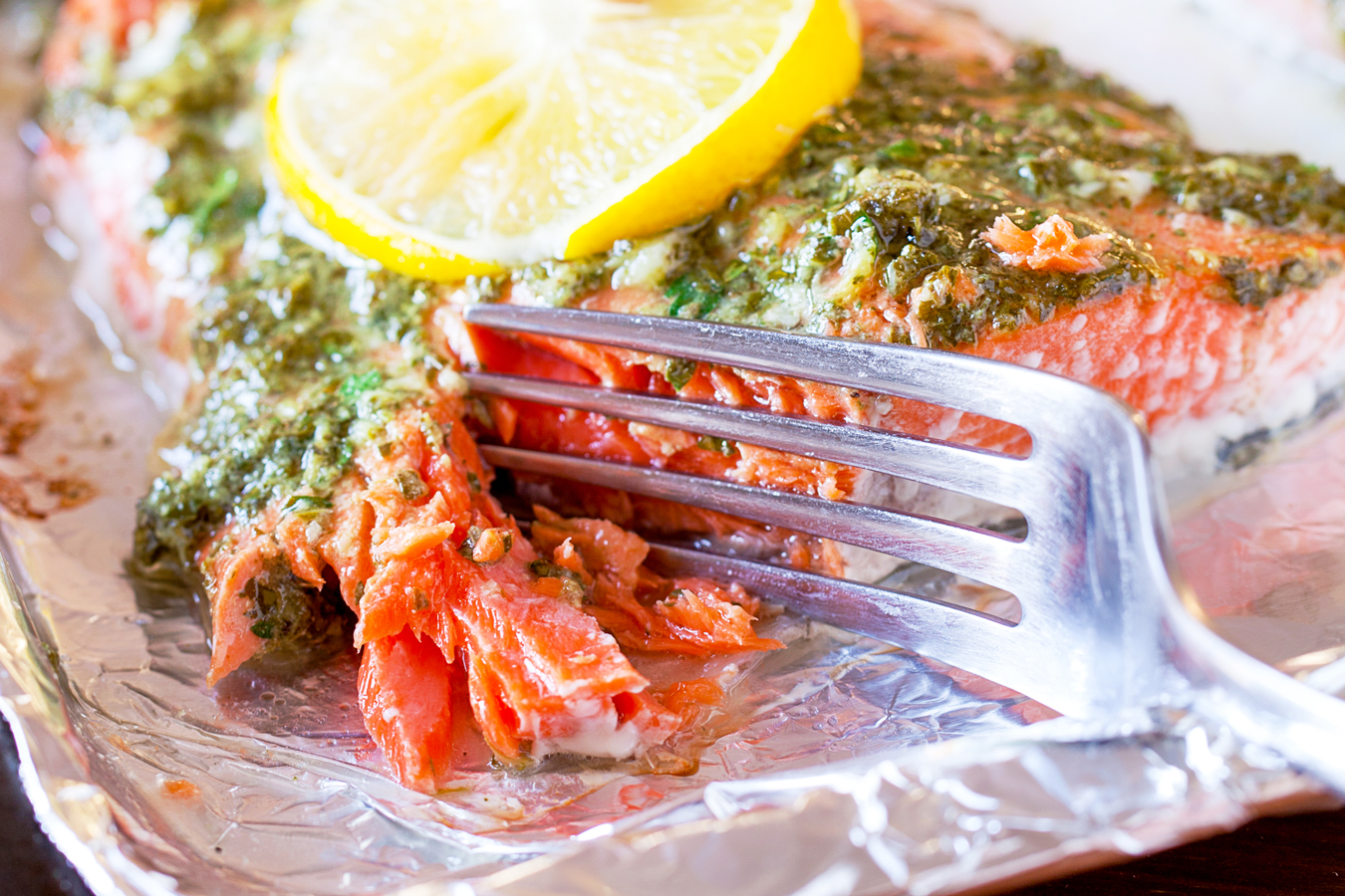 Baked Lemon and Herb Salmon - Juicy and delicious and ready in less than 20 minutes!
