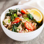Mediterranean Rice & Quinoa Bowl with Salmon Kebabs