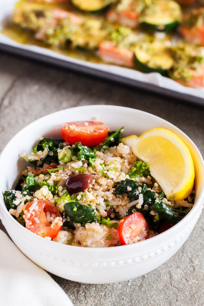 Gluten-free Mediterranean Rice & Quinoa Bowl with Salmon Kebabs has fresh herbs and vegetables that will keep you coming back for more!