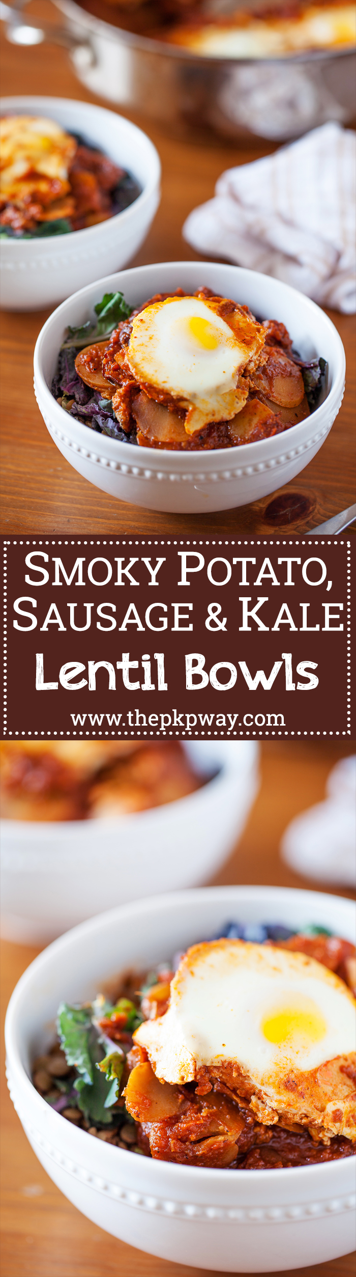 Smoky Potato, Sausage & Kale Lentil Bowl - Comforting, hearty, healthy, and cooks in one skillet!