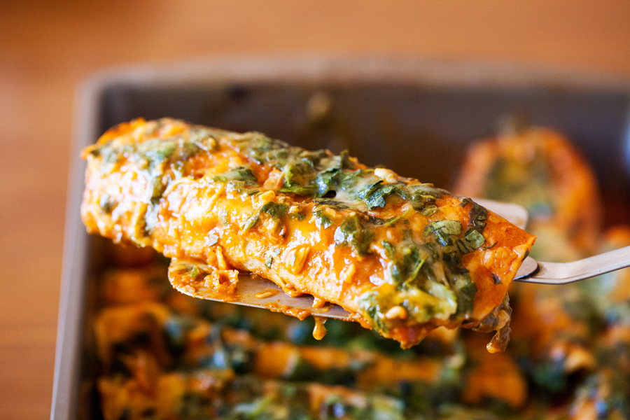 Spinach and cheese enchiladas. A healthy twist on a Mexican favorite.