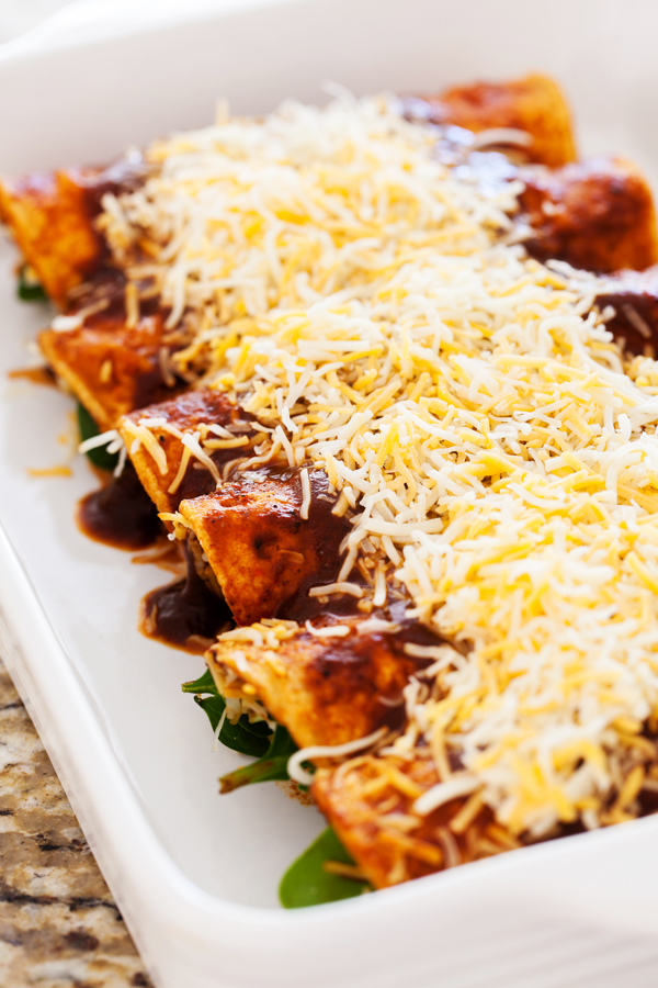 Spinach and cheese enchiladas are a healthier twist on a Mexican favorite.