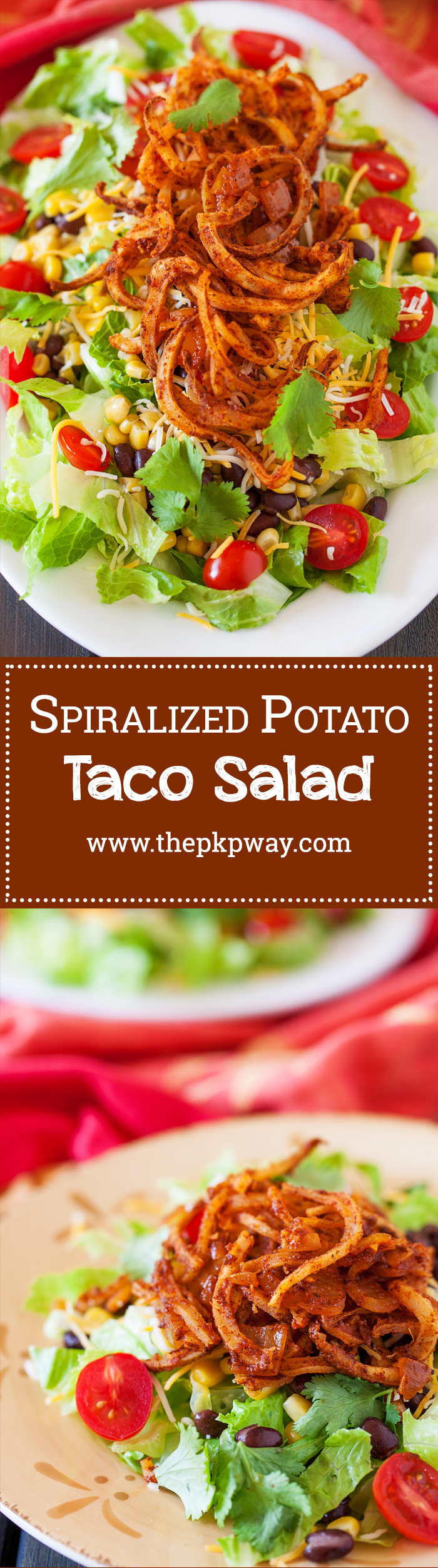 Crispy spiralized potato tossed in a taco seasoned sauce makes for a no-dressing-needed salad.