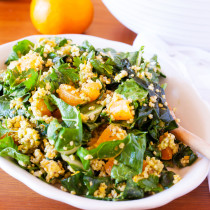 A triple punch of Ojai Pixie tangerines make the chard in this salad taste like tangerines in leafy green form. With a myriad of textures from millet and avocado, and a dressing that tastes like liquid candy, this salad is a yummy way to get more leafy greens into your diet.
