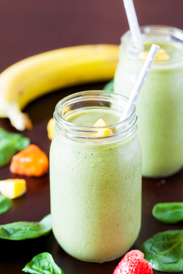 This green machine smoothie combines veggies and fruits to give you that kick of nutrients to help get your day started.