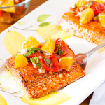 Spicy Salmon with Roasted Tomatoes and Pixie Salsa