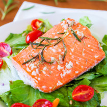 Spa quality Baked Salmon with Rosemary Vinaigrette and Roasted Tomatoes is light, mild, aromatic and ready in 20 minutes!