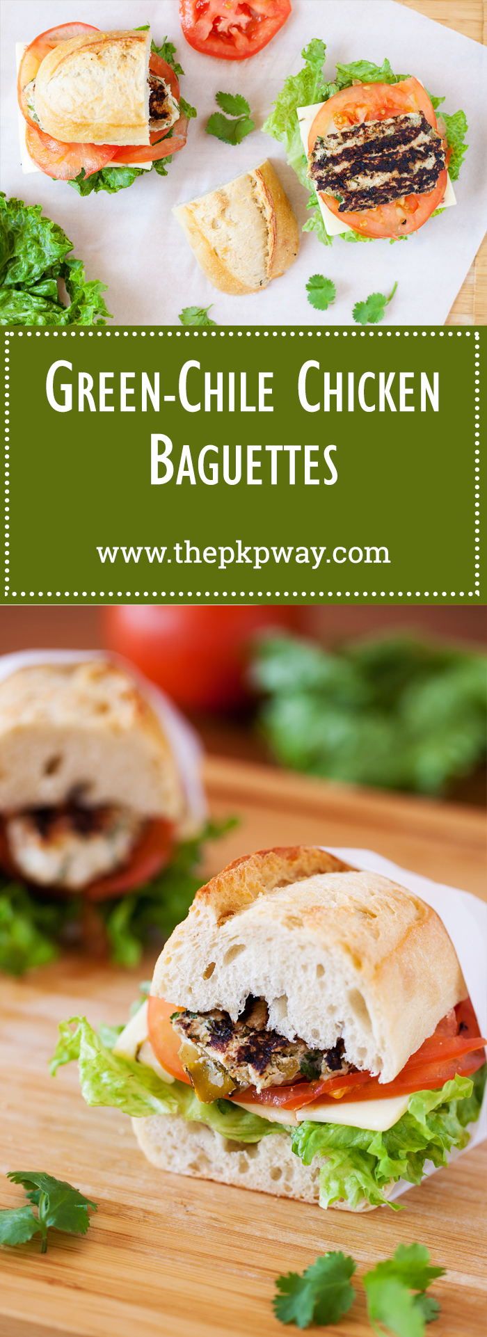 These Green-Chile Chicken Baguettes aren't your regular grilled chicken sandwich. They're loaded with green chilies and cilantro that make for an uber tasty and flavorful patty that's suitable in between a baguette or bun!