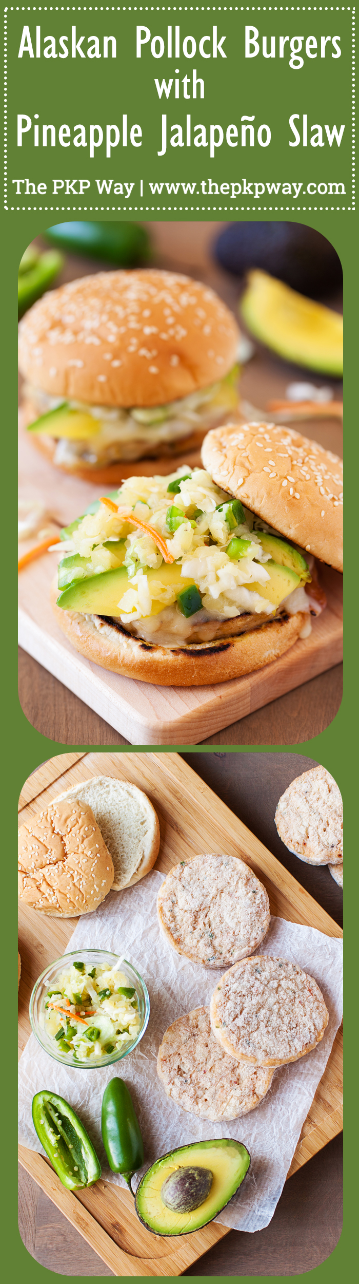 These Alaskan Pollock Burgers with Pineapple and Jalapeño Slaw are a healthy alternative to a regular burger yet just as delicious as an item on the menu of a gourmet burger restaurant.