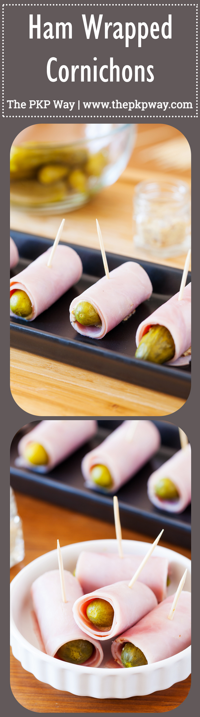 Ham Wrapped Cornichons are salty, sour, and crunchy. Made with only three ingredients, they make the perfect appetizer or game day snack!