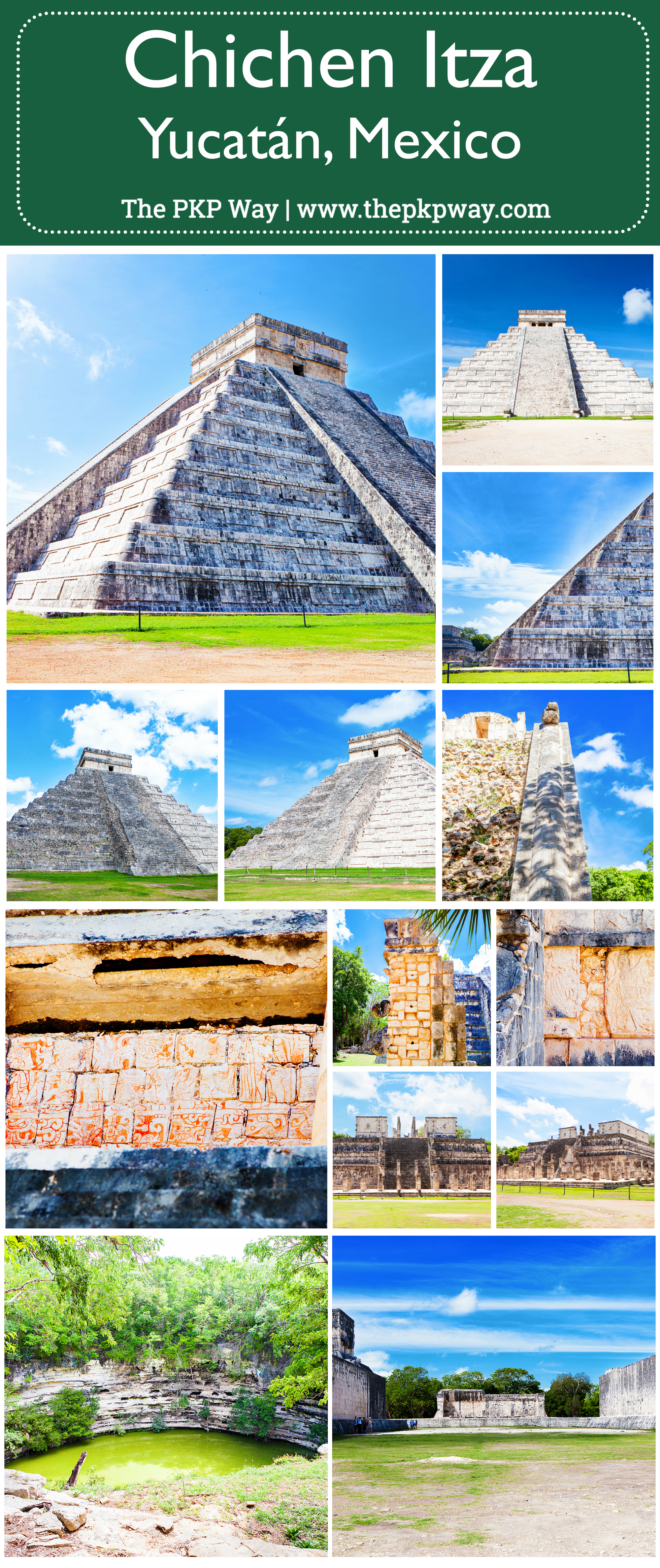 A glimpse into Chichén Itzá (Chichen Itza), an ancient Mayan town in Yucatán, Mexico.