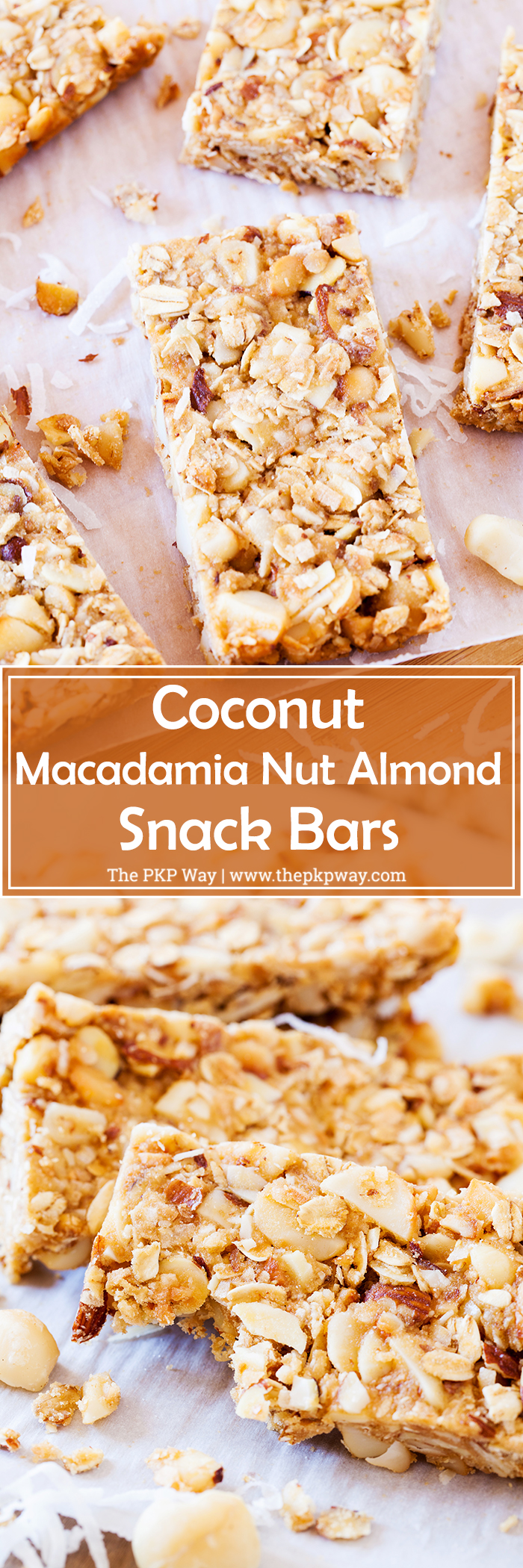 These Coconut Macadamia Nut Almond Snack Bars are perfect for an after school snack and will fill your mouth with warm, tropical flavors.