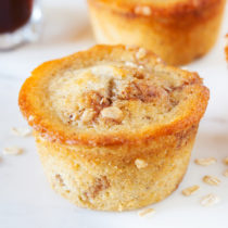 Stuffed inside these moist, tender, and soft Banana Coffee Cake Muffins are TWO bananas for a HUGE punch of banana flavor.
