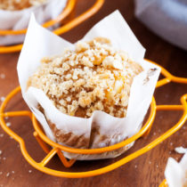 The perfect recipe to kick-off pumpkin season and fall, these Inside-Out Pumpkin Muffins feature a sweet and tangy cream cheese frosting stuffed inside a pumpkin spice muffin and topped with a crunchy streusel topping!