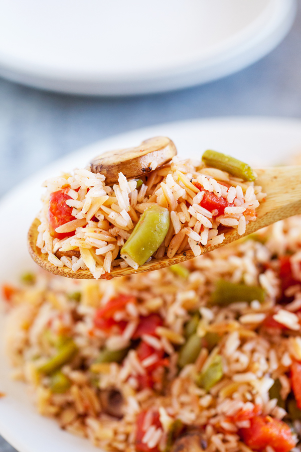 Taking its cue from the traditional green bean casserole, this Green Bean Rice Pilaf is the lightened-up, made over version and adds a festive touch to any Friendsgiving table.
