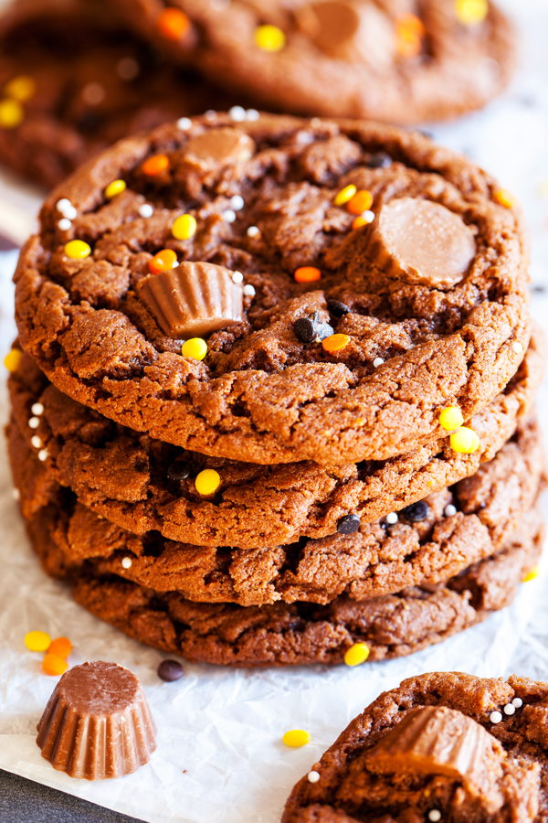 Full of chocolate and peanut butter flavor, these Reese's Peanut Butter Chocolate Cookies are a great way to use up your leftover Halloween candy.