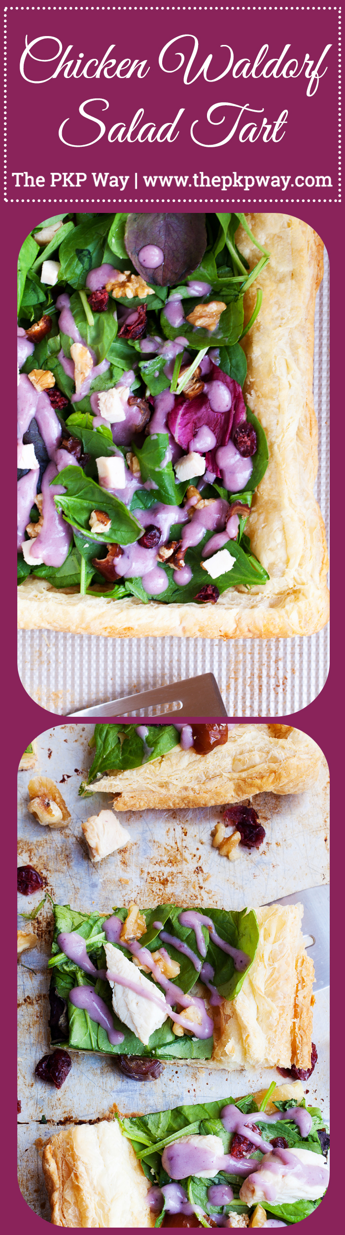 Puff pastry topped with fresh greens and a drizzle of blueberry lemon dressing make this Chicken Waldorf Salad Tart a delicious appetizer or light lunch option for all your holiday parties.