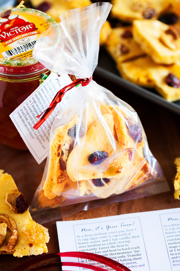 Honeycomb and Nut Brittle with REAL honeycomb make the perfect gift for your candy loving friends.