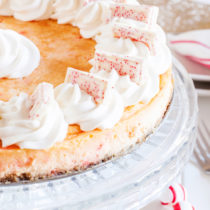 This celebratory Peppermint Cheesecake will make a festive dessert on any New Year Party dessert table.