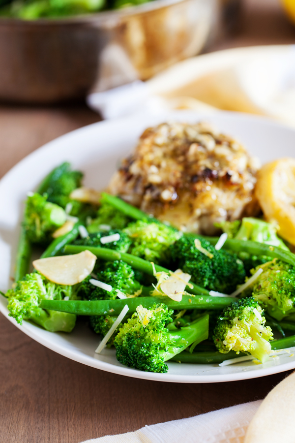 Perfectly crisped, tender, and flavorful Garlic Lemon Broccoli and Green Beans.