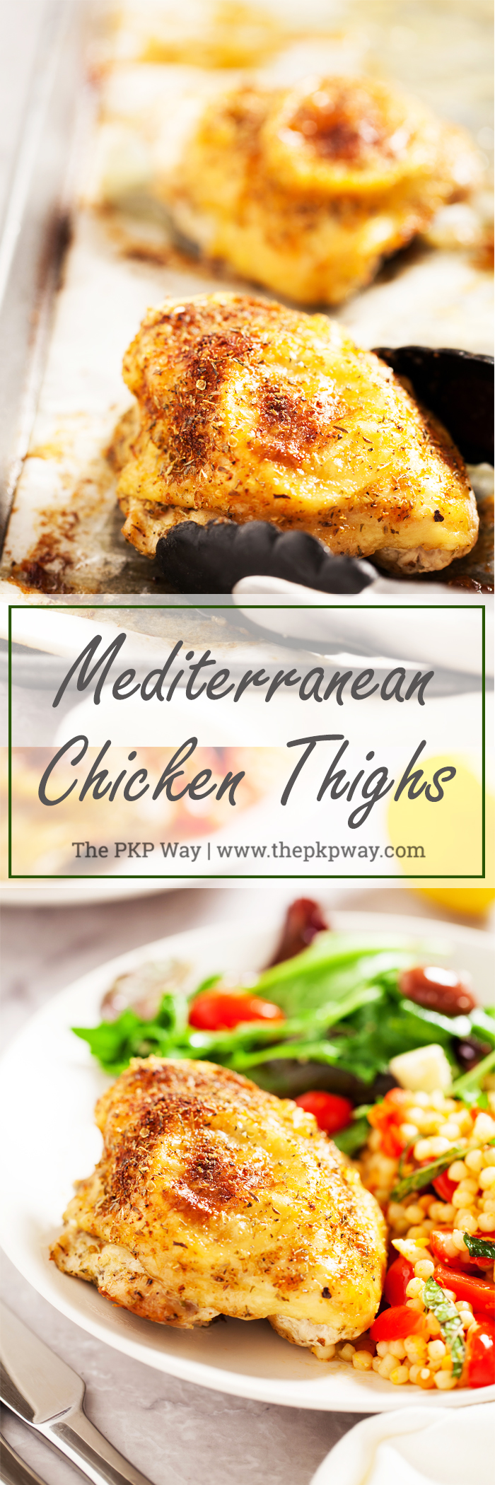 These flavorful Mediterranean Chicken Thighs make an easy weeknight meal and can be prepared in advance!