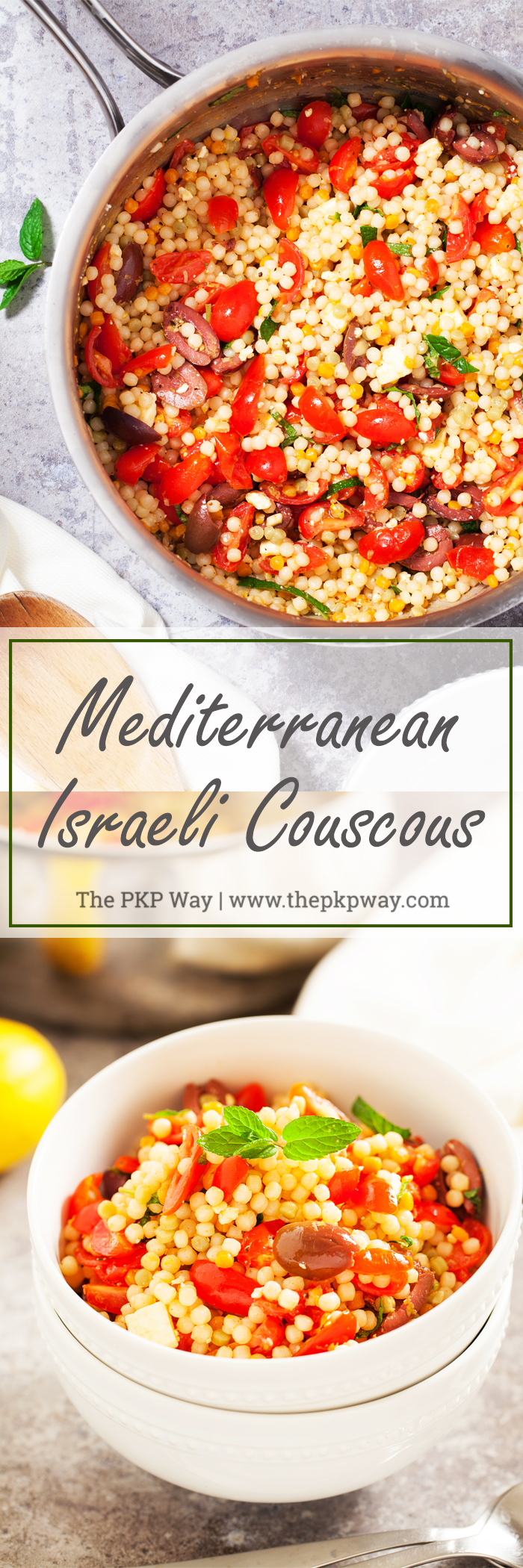 This Mediterranean Israeli Couscous is perfect as an accompaniment to any Mediterranean-inspired meal or on its own in a giant bowl!