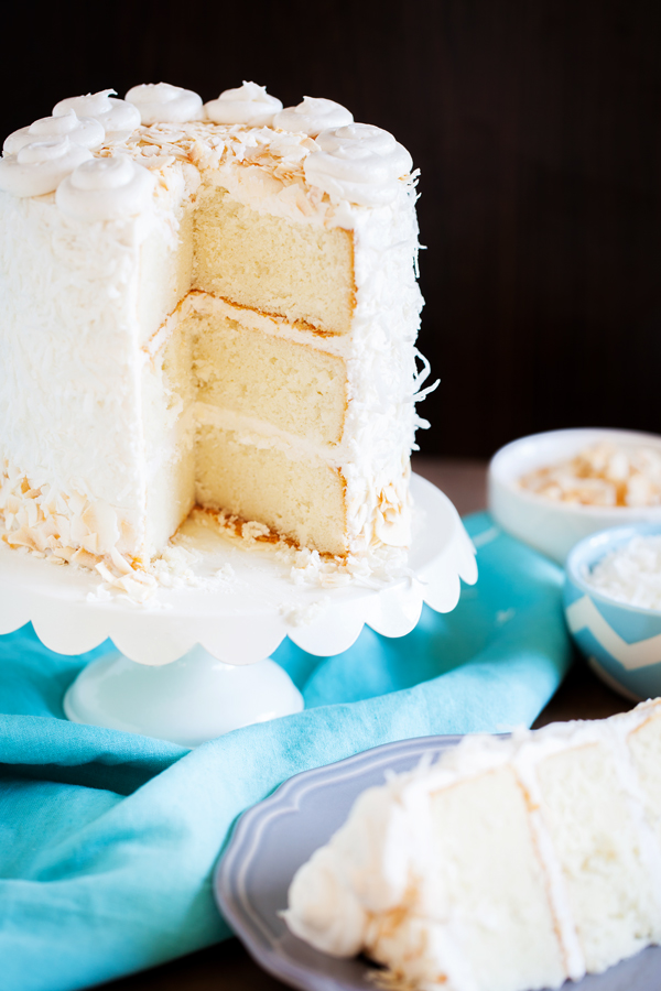 Moist and fluffy coconut cake is studded with shredded coconut, filled and covered with a luscious coconut frosting made from coconut milk, and adorned with BOTH toasted coconut and sweetened coconut.