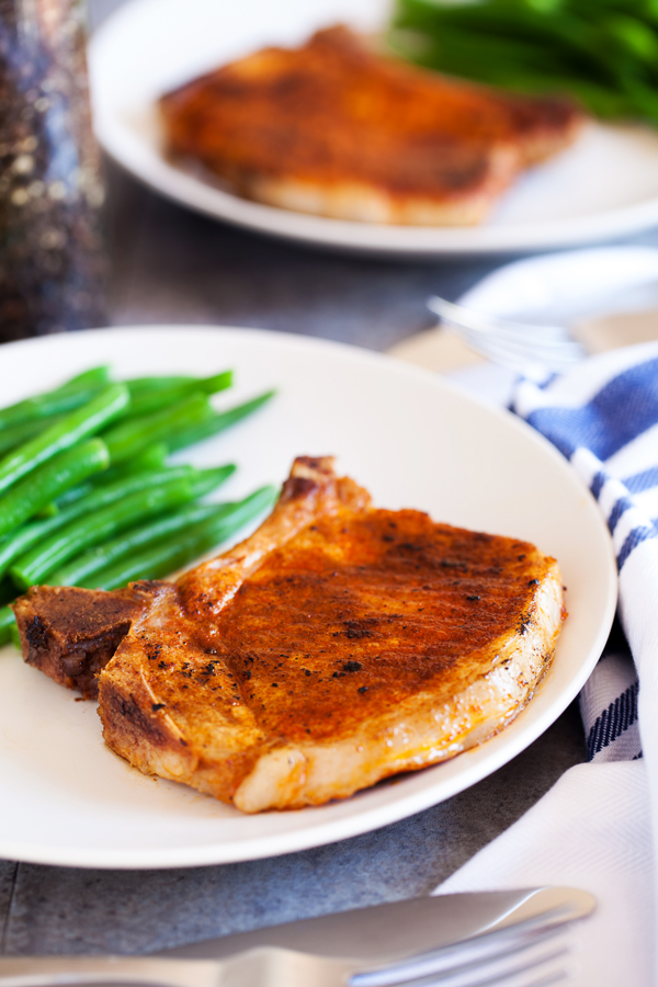 Three Ingredients Pork Chops are tender, juicy and ready in under 10 minutes!