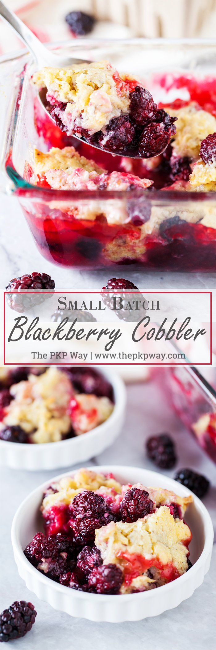 A tart and juicy blackberry filling topped with a secret-ingredient topping makes this Small Batch Blackberry Cobbler the perfect sweet treat at your next intimate gathering.