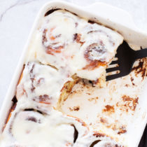 These Classic Cinnamon Rolls are filled with a cinnamon and sugar filling and topped with a sweet and tangy cream cheese glaze.