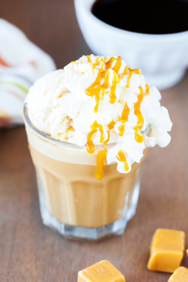 A summer-worthy treat, French Vanilla and Caramel Affogato Frappe tops homemade frappe with a scoop of no-churn caramel ice cream.