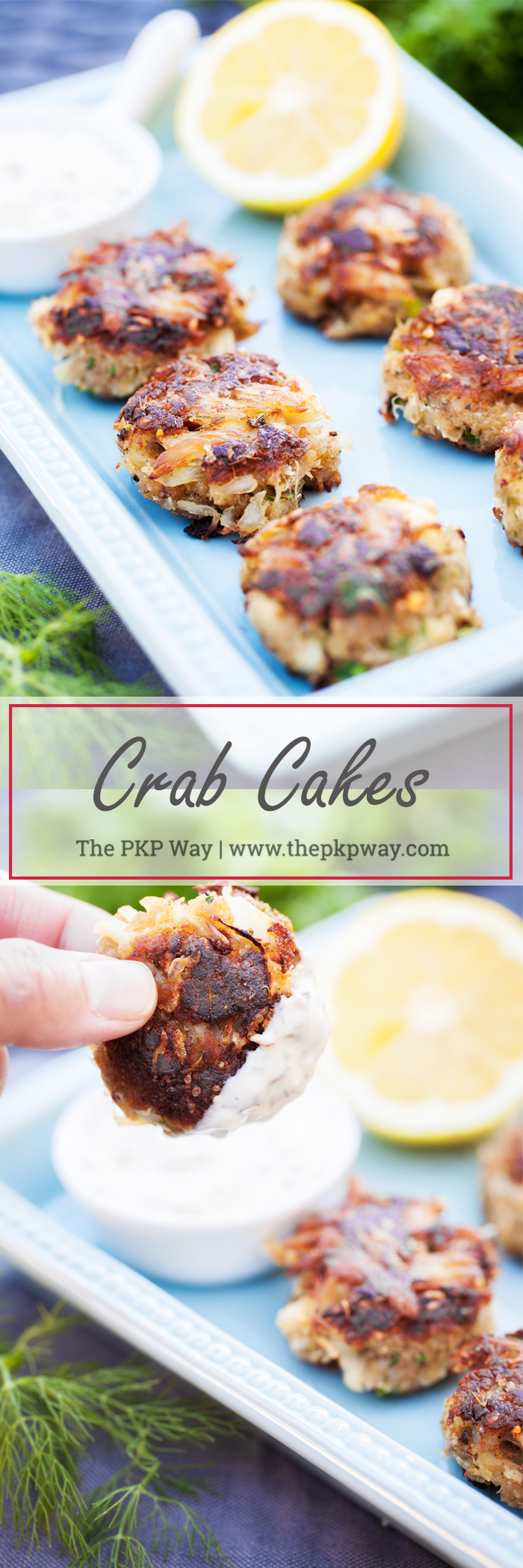 Pan fried Crab Cakes with succulent lump crab meat and fresh herbs.