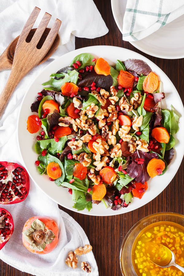A colorful and tart salad, this Persimmon and Pomegranate Salad uses seasonal ingredients to ring in the New Year in style.