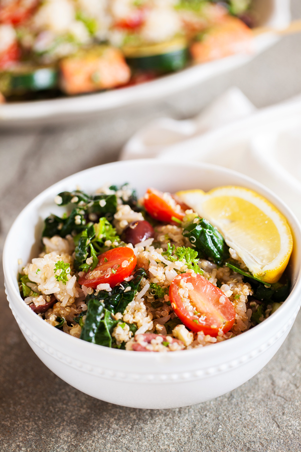 621ce0c8cabc Mediterranean Rice   Quinoa Bowl with Salmon Kebabs