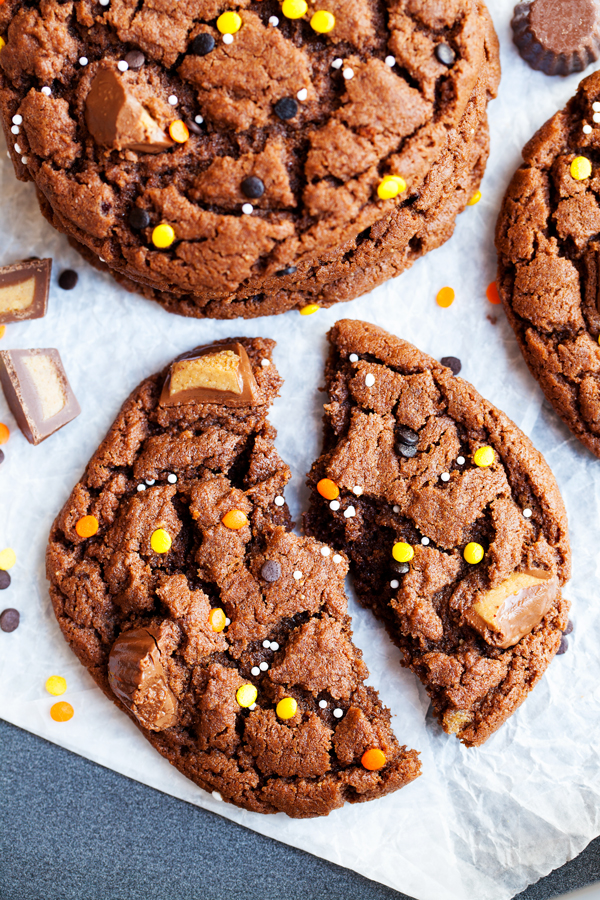 full of chocolate and peanut butter flavor these reeses peanut butter chocolate cookies are a